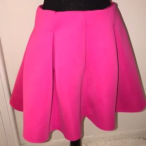 Hot Pink Pleated Scuba Skirt Size L By Soprano
